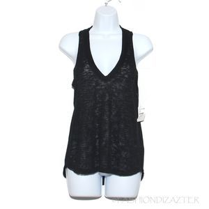 NWT Project Social T black knit v-neck tank top XS